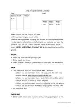 6 FREE ESL Brochure Worksheets