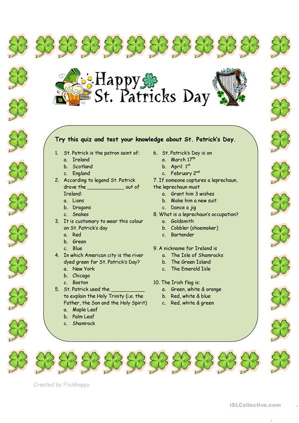 St Patrick S Day Trivia Printable | brandforesight co