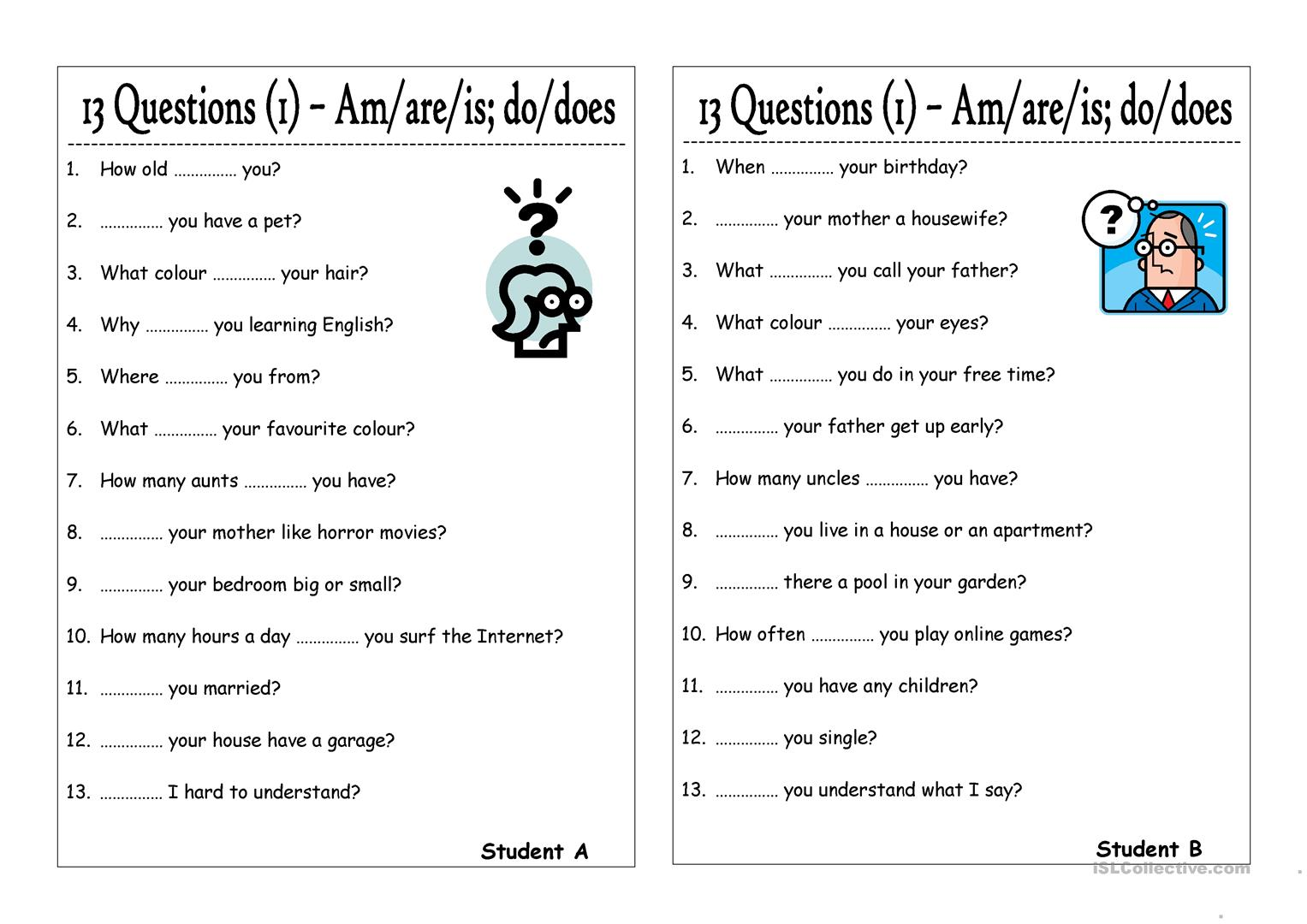Worksheet Questions With To Be