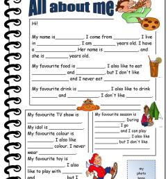 English ESL all about me worksheets - Most downloaded (76 Results) [ 1079 x 763 Pixel ]