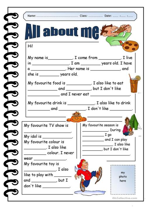 small resolution of English ESL all about me worksheets - Most downloaded (76 Results)