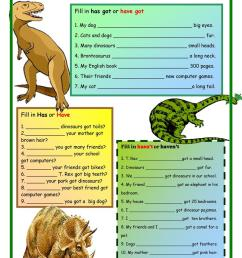 Dinosaurs:Has Got and Have Got - English ESL Worksheets for distance  learning and physical classrooms [ 1079 x 763 Pixel ]