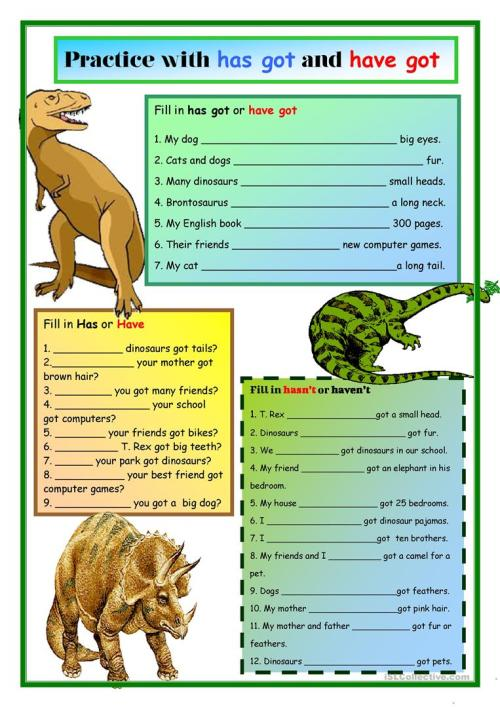small resolution of Dinosaurs:Has Got and Have Got - English ESL Worksheets for distance  learning and physical classrooms