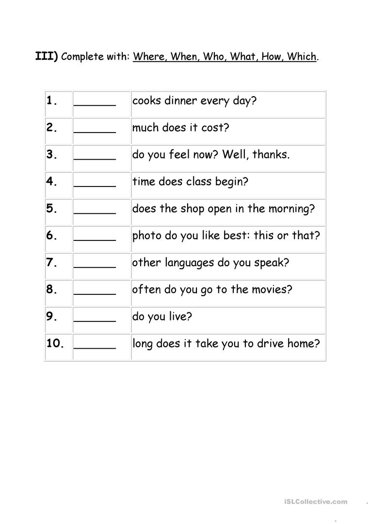 medium resolution of Exercises Wh question words - English ESL Worksheets for distance learning  and physical classrooms