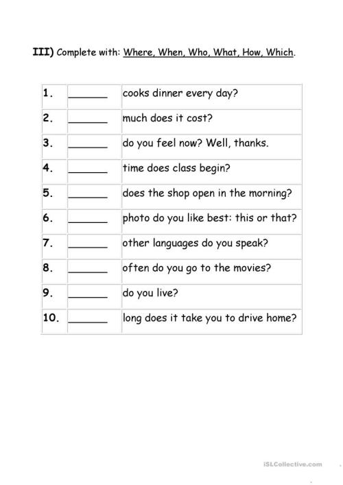 small resolution of Exercises Wh question words - English ESL Worksheets for distance learning  and physical classrooms