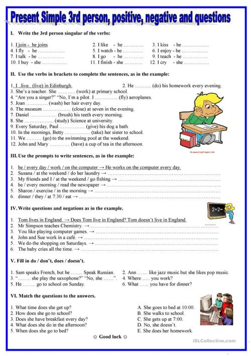 small resolution of English ESL present simple worksheets - Most downloaded (2510 Results)