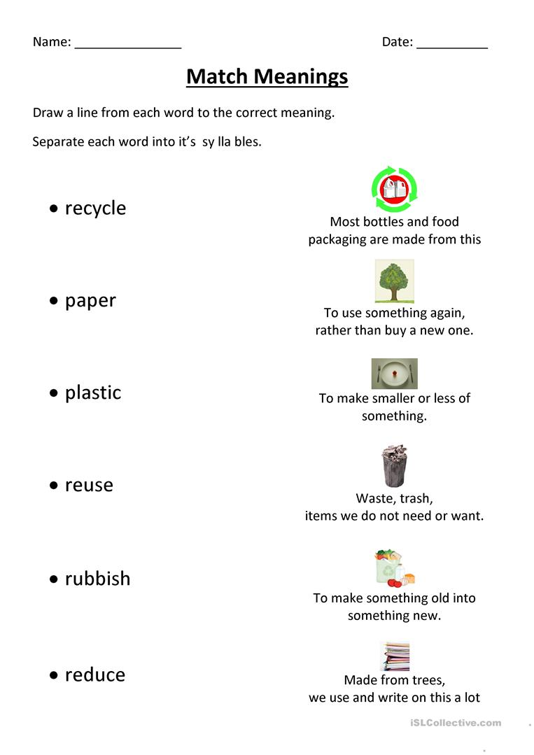 hight resolution of Recycling Match - English ESL Worksheets for distance learning and physical  classrooms