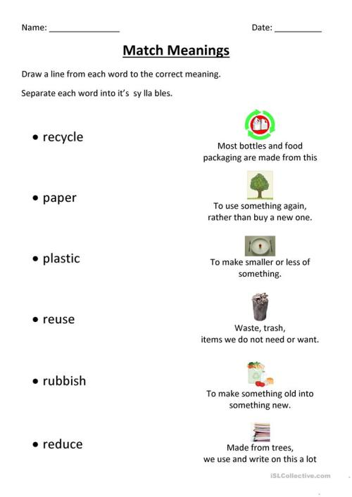 small resolution of Recycling Match - English ESL Worksheets for distance learning and physical  classrooms
