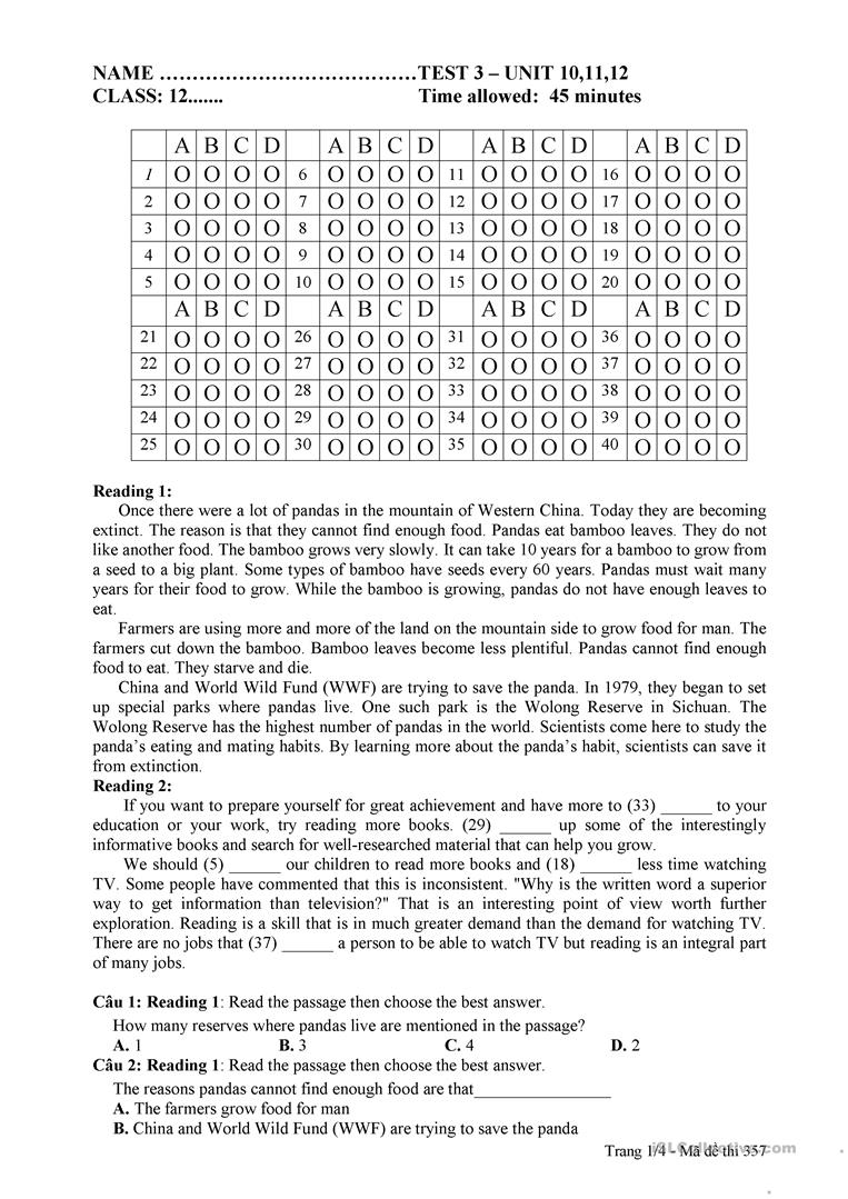 medium resolution of TEST 3 - GRADE 12 - English ESL Worksheets for distance learning and  physical classrooms