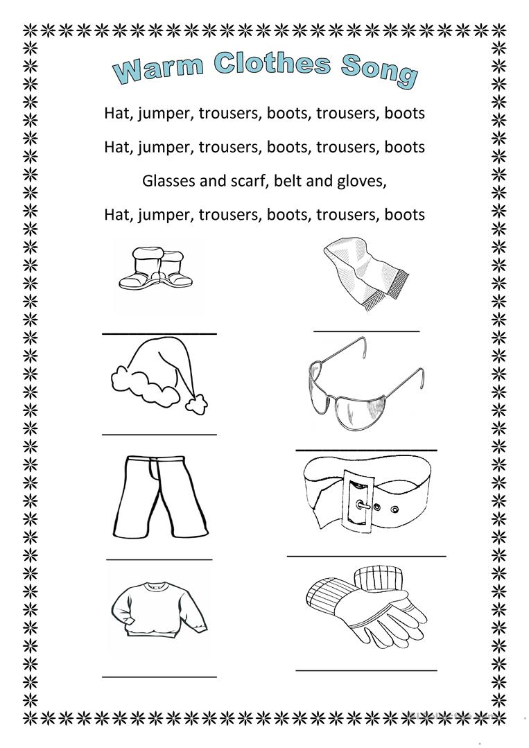 hight resolution of The warm clothes song - English ESL Worksheets for distance learning and  physical classrooms