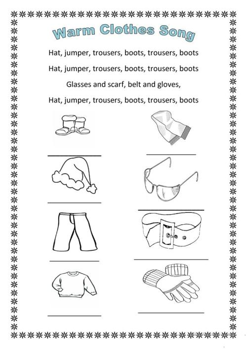 small resolution of The warm clothes song - English ESL Worksheets for distance learning and  physical classrooms
