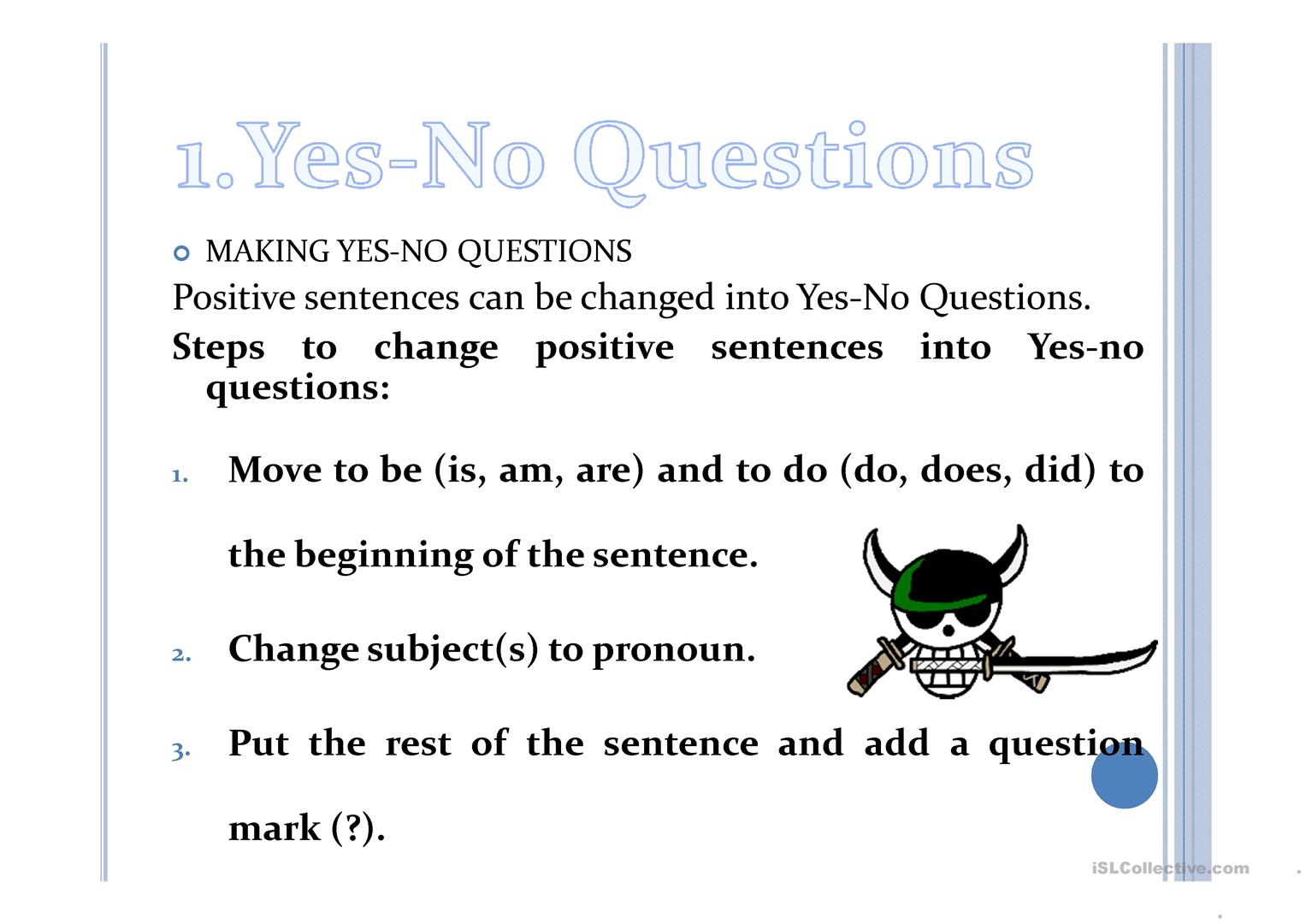 Free Yes No Questions Worksheet
