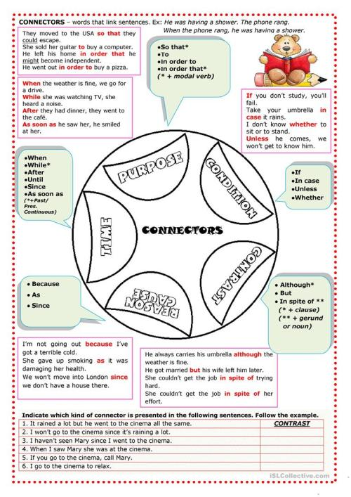 small resolution of English ESL conjunctions worksheets - Most downloaded (108 Results)