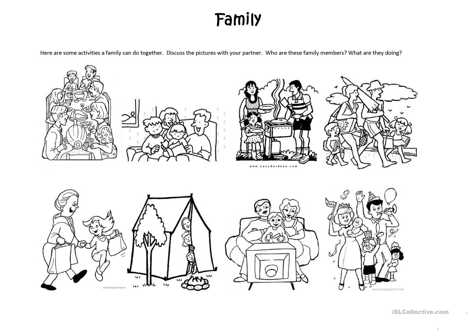 Family Activities Worksheet