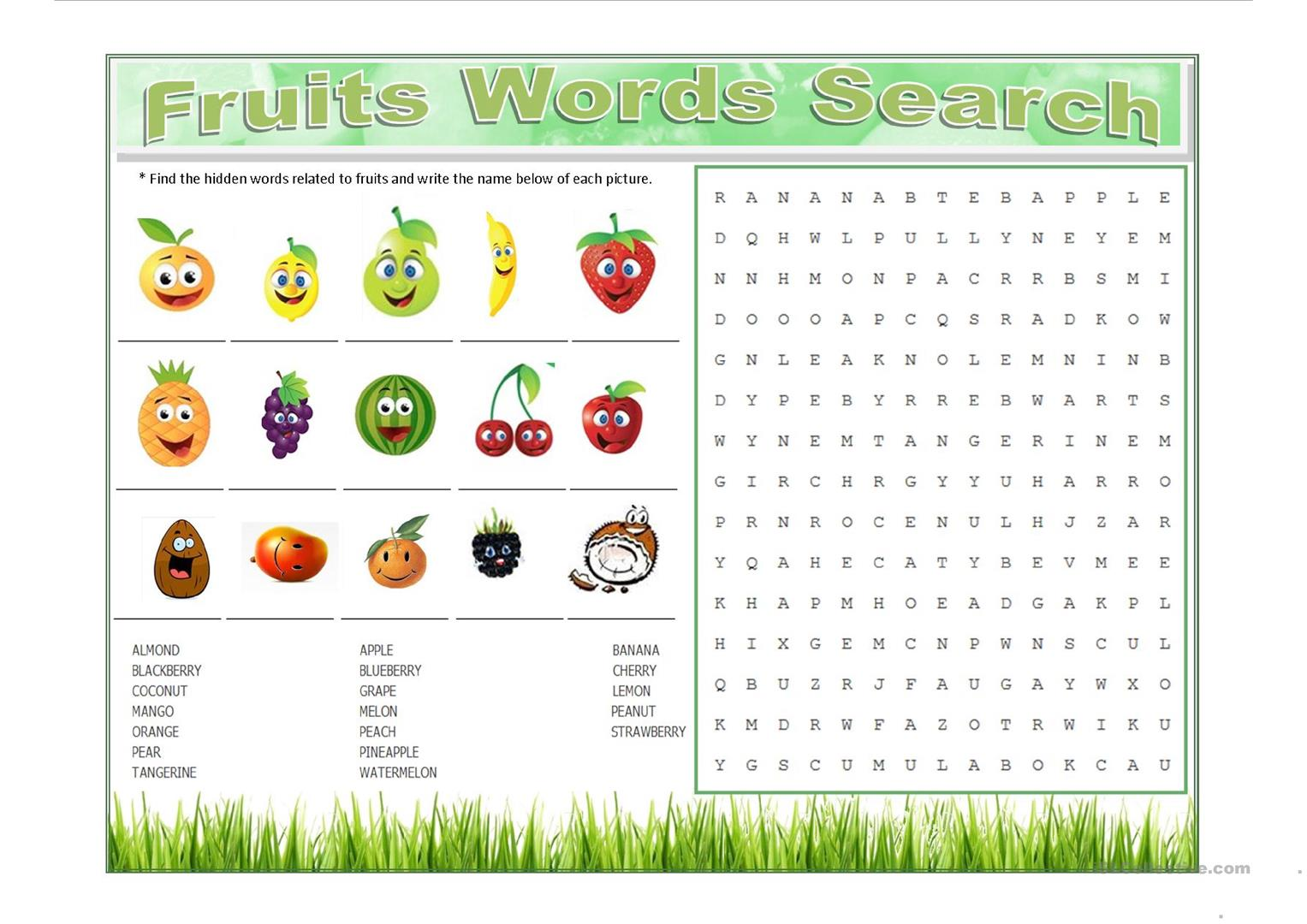 Fruits Words Search