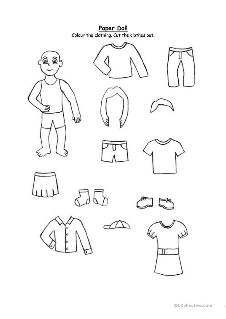 Paper doll- clothing (for 2nd graders and up) worksheet