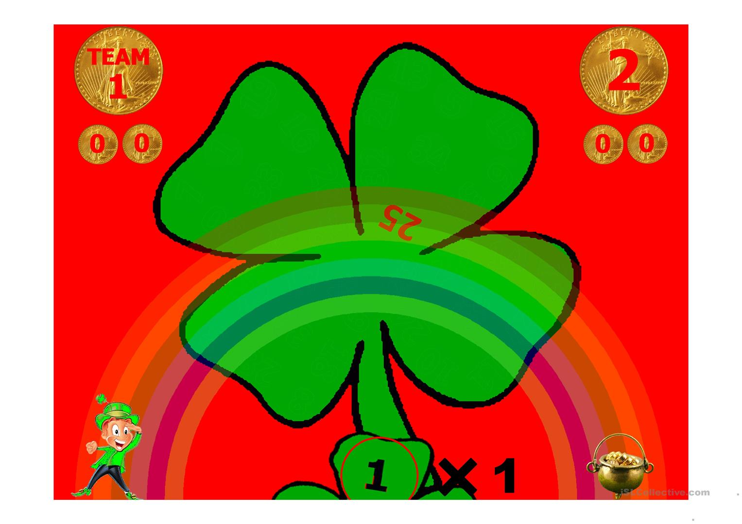 Personal Pronouns Four Leaf Clover Game Worksheet