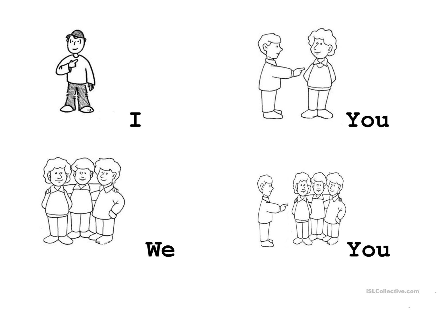 Pronouns Flashcards I We You Worksheet