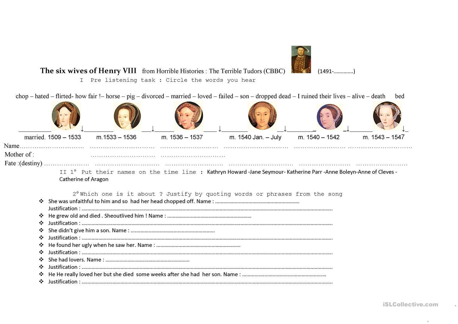 The Six Wives Of Henry Viii In Horrible Histories