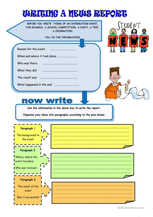 Writing: a news report - English ESL Worksheets for distance