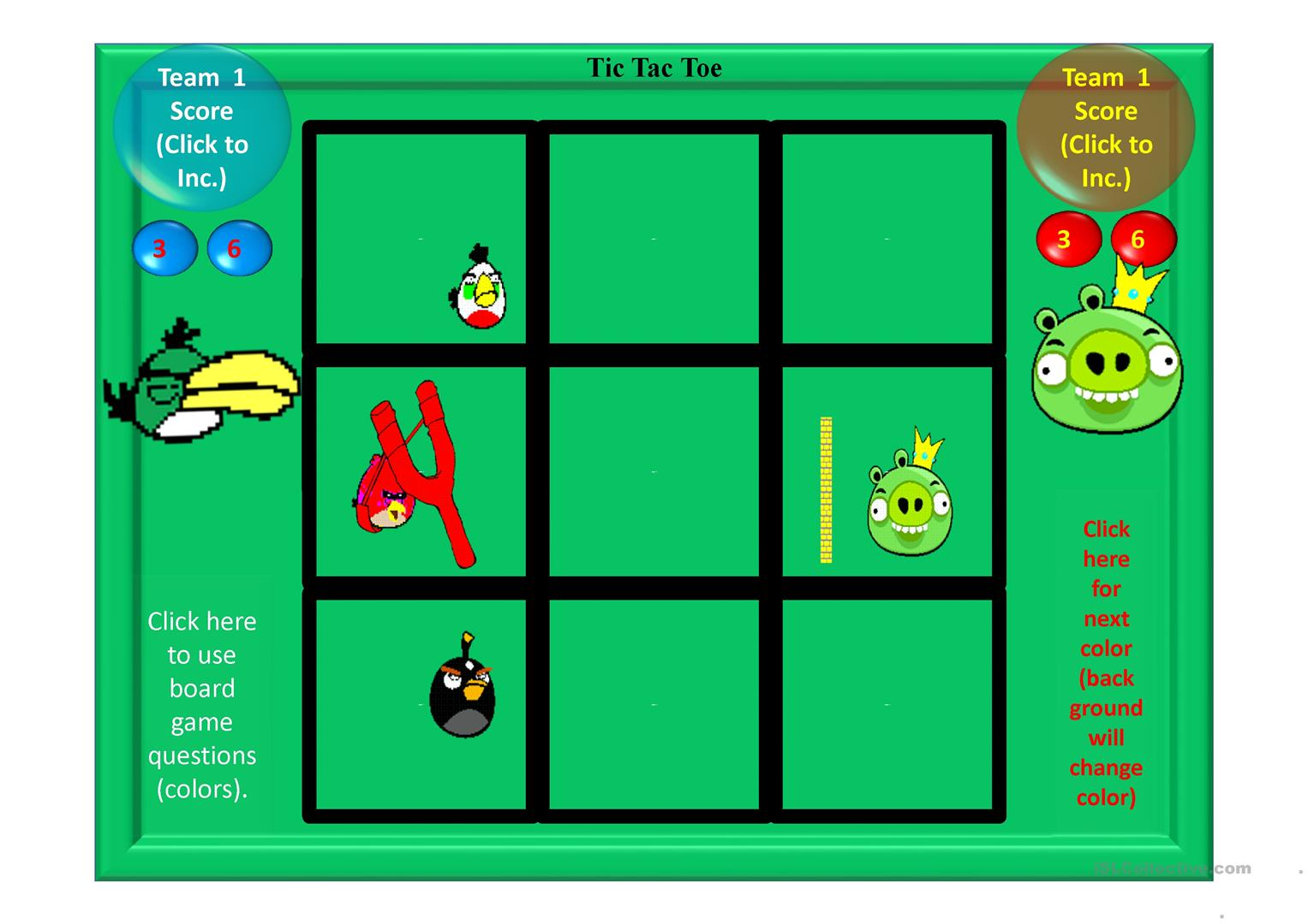 Colours Angry Bird Tic Tac Toe Game Worksheet