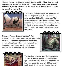 Dinosaur Facts - English ESL Worksheets for distance learning and physical  classrooms [ 1079 x 763 Pixel ]