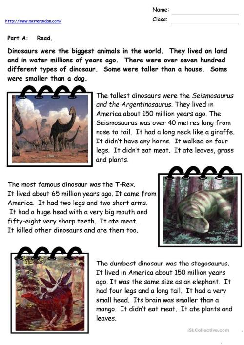 small resolution of Dinosaur Facts - English ESL Worksheets for distance learning and physical  classrooms