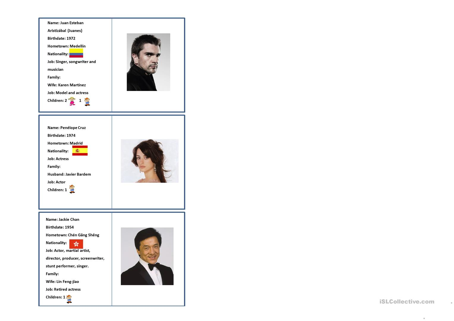 Famous People Id Cards Worksheet