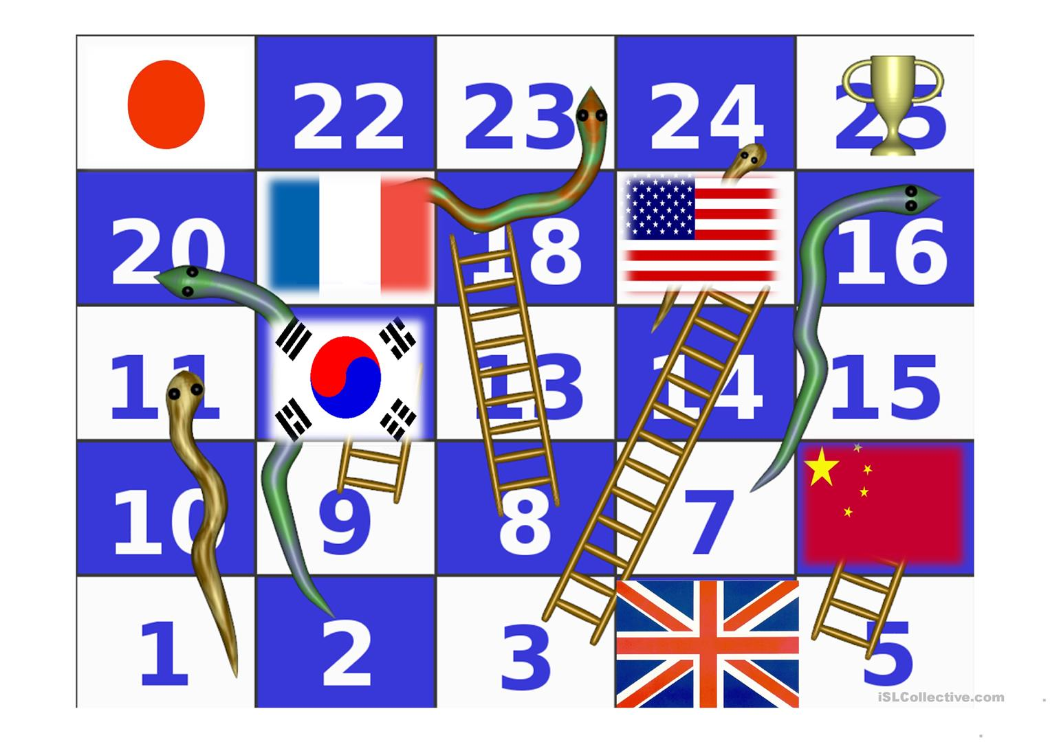 Flags Snakes And Ladders Worksheet