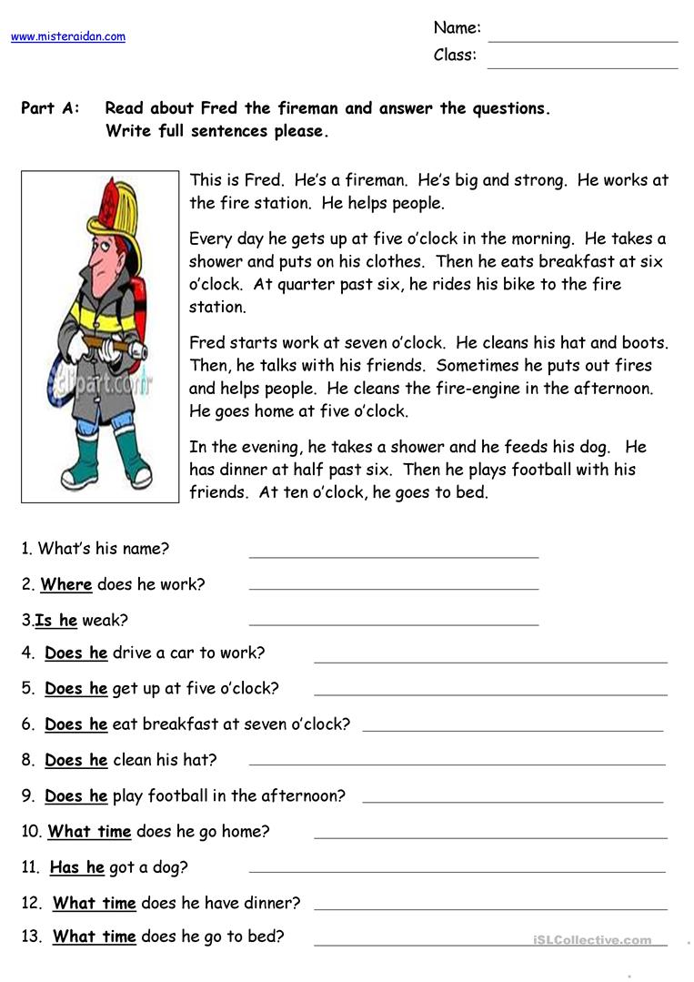 Fred The Fireman  Reading Comprehension Worksheet  Free Esl Printable Worksheets Made By Teachers