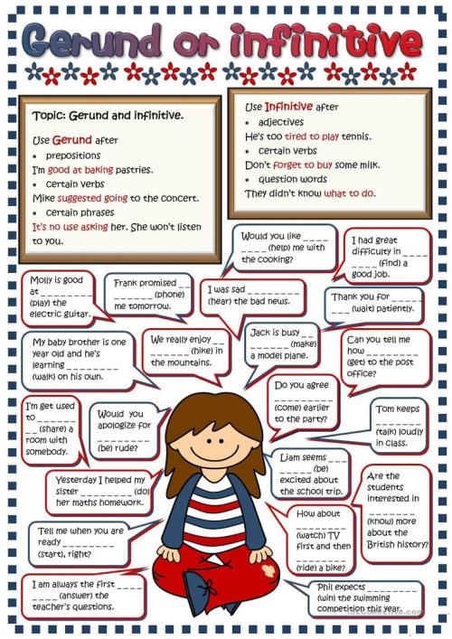 small resolution of Gerund or infinitive - English ESL Worksheets for distance learning and  physical classrooms