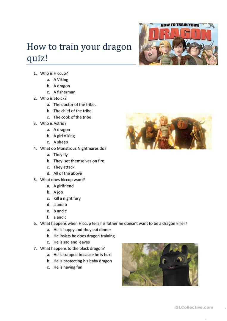 How to train your dragon quizzes howsto how to train a dragon quiz worksheet free esl printable ccuart Choice Image