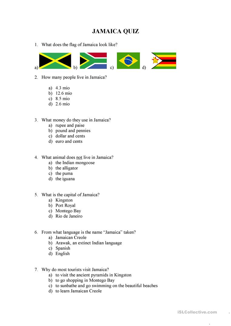 medium resolution of jamaica quiz - English ESL Worksheets for distance learning and physical  classrooms