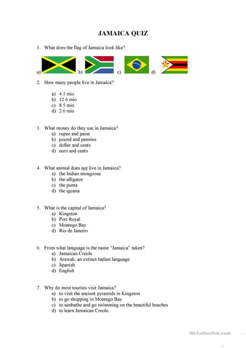 small resolution of jamaica quiz - English ESL Worksheets for distance learning and physical  classrooms