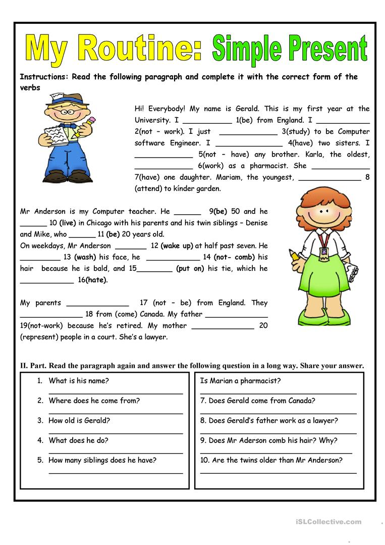 medium resolution of My Routine. Simple Present Tense - English ESL Worksheets for distance  learning and physical classrooms