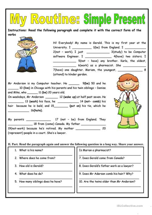 small resolution of My Routine. Simple Present Tense - English ESL Worksheets for distance  learning and physical classrooms