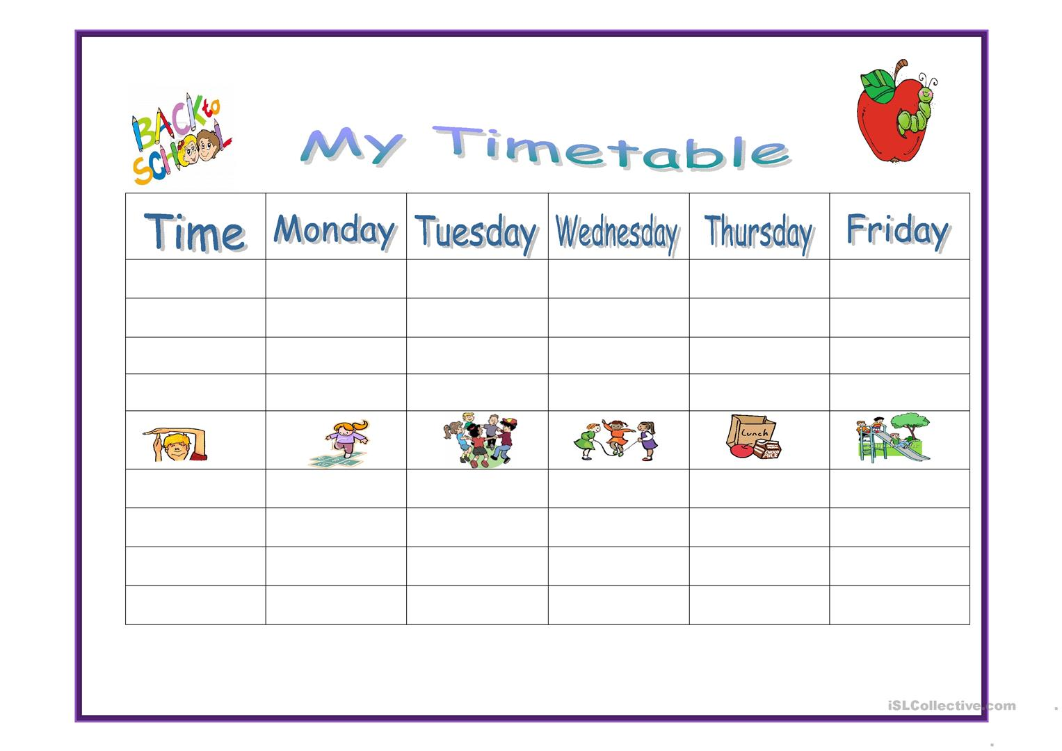 My Timetable Worksheet