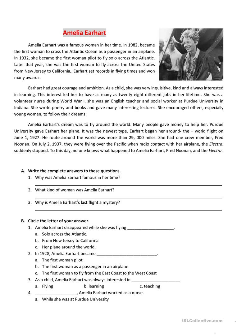 hight resolution of Reading about Amelia Earhart - English ESL Worksheets for distance learning  and physical classrooms