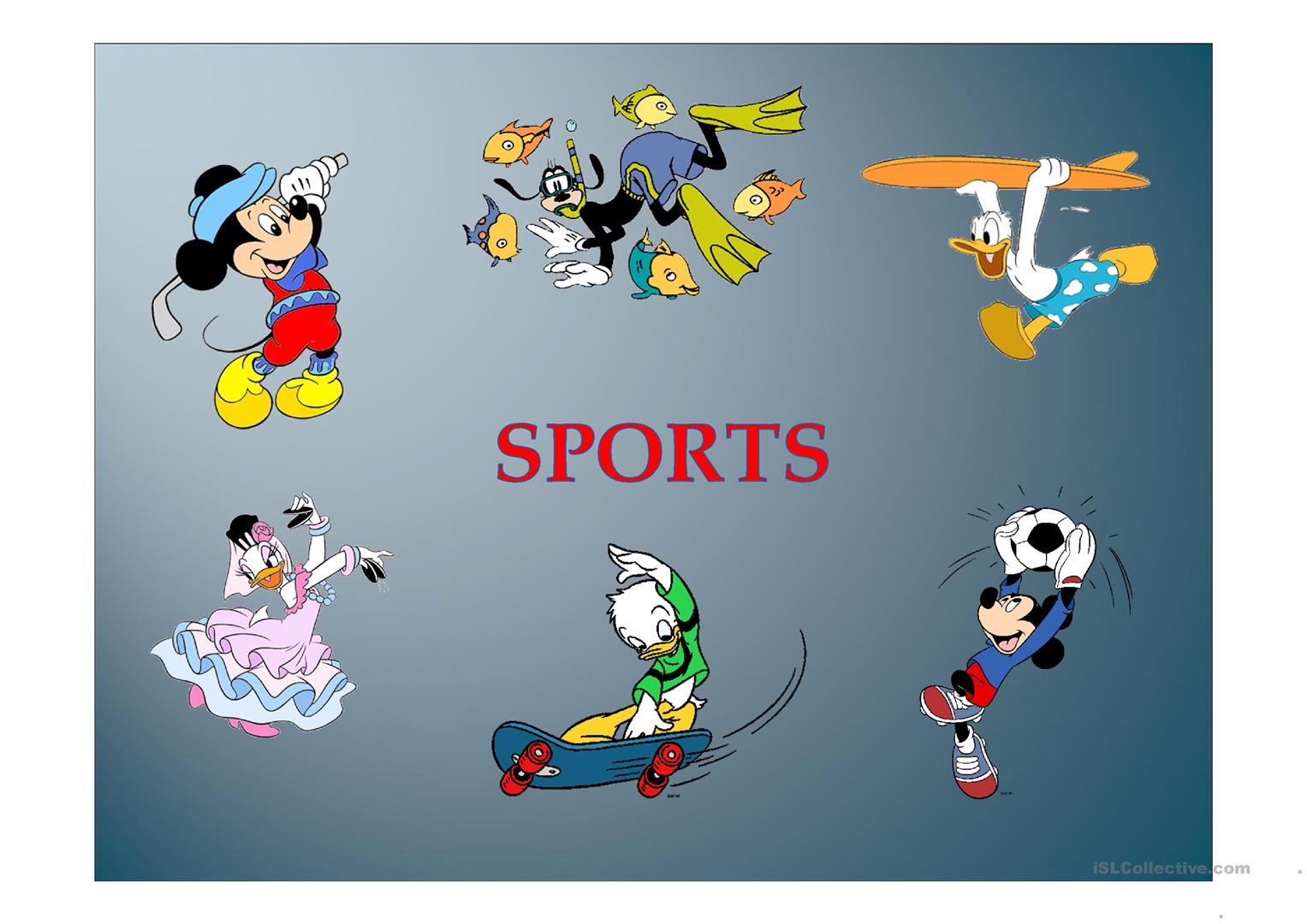 Sports With Disney Characters Worksheet