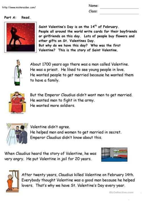 small resolution of The History of Valentine's Day - English ESL Worksheets for distance  learning and physical classrooms