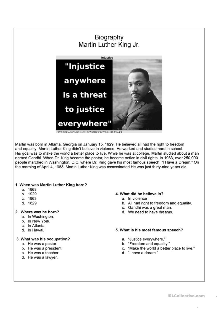 medium resolution of English ESL martin luther king worksheets - Most downloaded (21 Results)