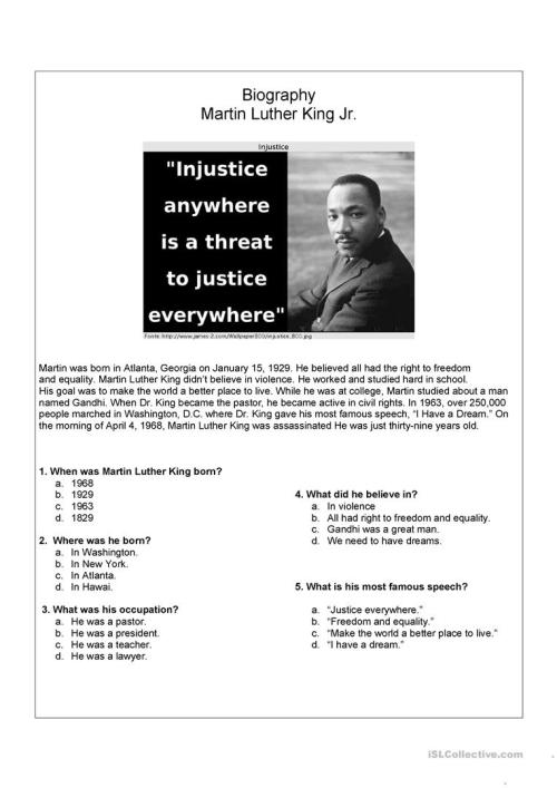 small resolution of English ESL martin luther king worksheets - Most downloaded (21 Results)