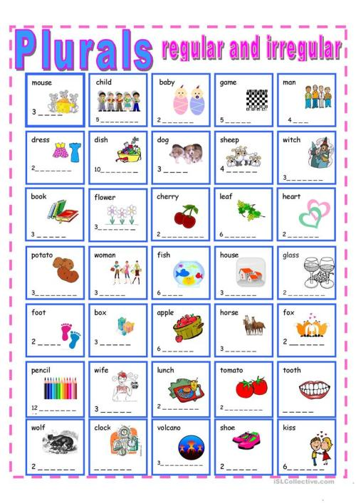 small resolution of Regular and Irregular Plurals - English ESL Worksheets for distance  learning and physical classrooms