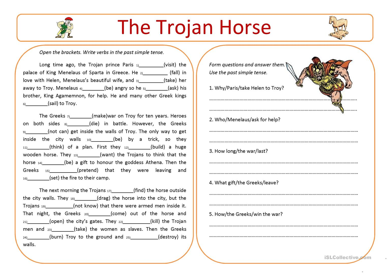 Trojan War Worksheet Worksheets For School