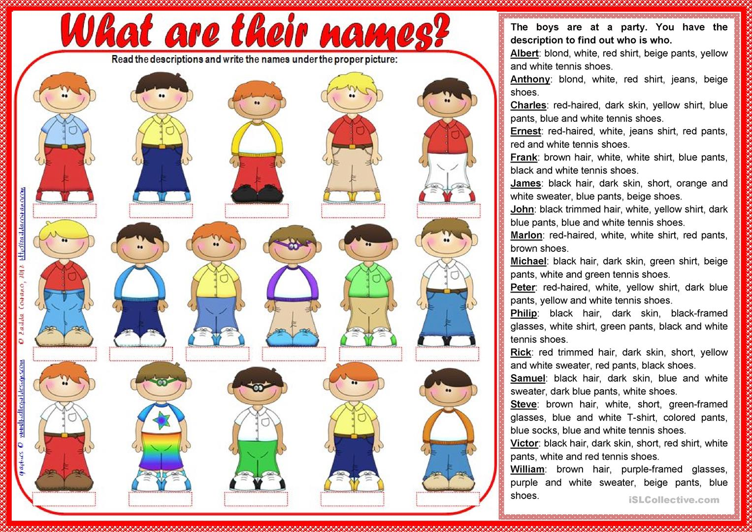What Are Their Names Teacher S Handout Included