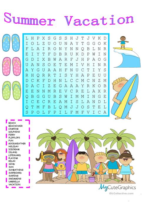 Summer Holiday Word Search Printable Free | Holliddays.co