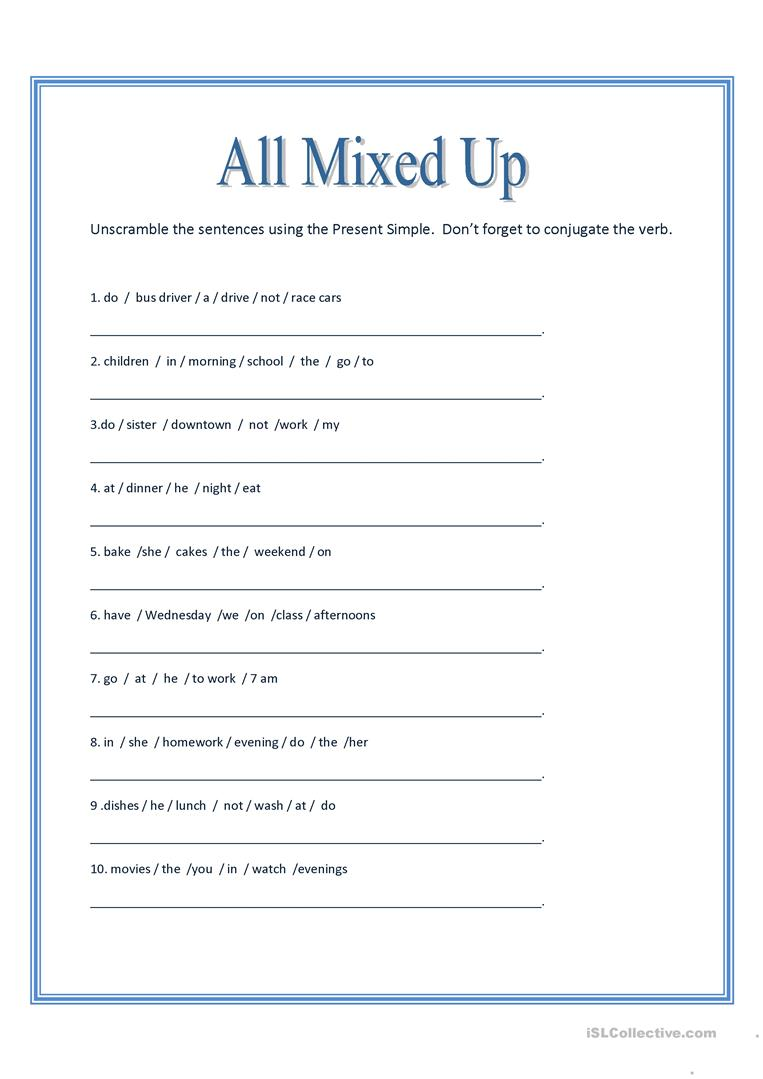 medium resolution of English ESL unscramble worksheets - Most downloaded (54 Results)