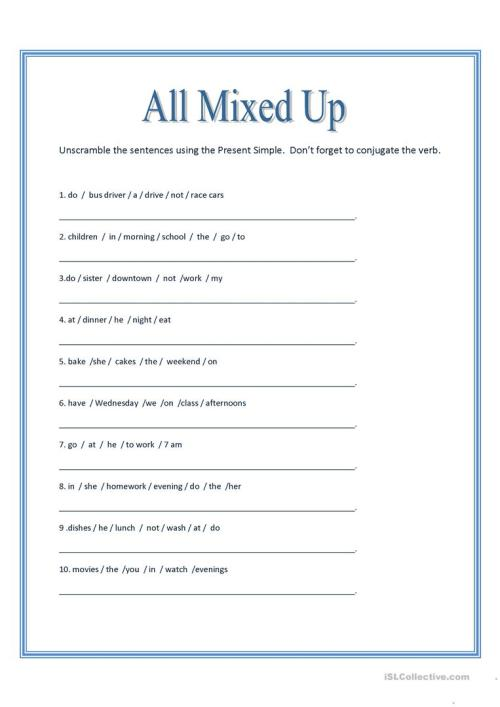 small resolution of English ESL unscramble worksheets - Most downloaded (54 Results)