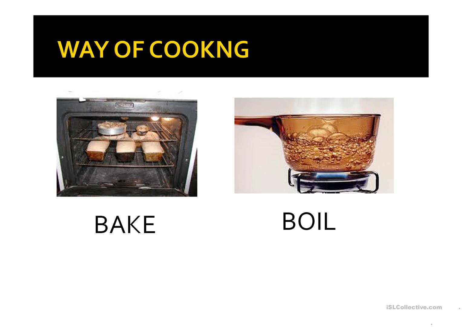 Cooking Vocabulary Worksheet