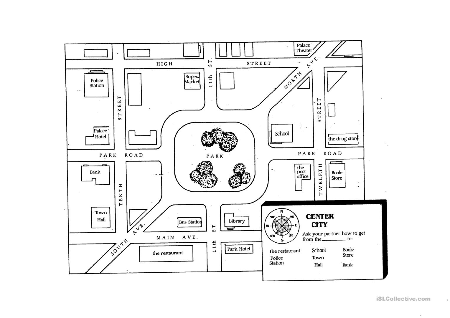 Giving Directions Student Map Worksheet